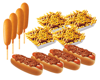 Media for #7 Crowd Pleaser: 4 Chili Dogs, 4 Dorn Dogs, and 4 Chili Cheese Fries